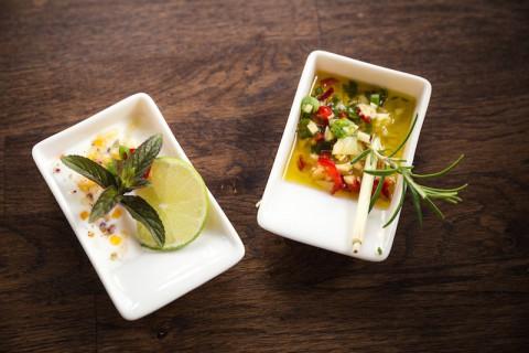 Rezept Ingwer-Knoblauch-Chilli-Marinade & Joghurt-Minze-Limette-Dip: Grillsaucen Grillen Potsdam Berlin